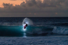 Night Surfer (Heather Smith Photography) Tags: water island surf oahu hawaii surfer nightsurfing northshore wave pacific blue night sony a7r2 jamieobrien