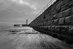 The Wall (cdhardaker) Tags: photography clouds sky landscape england harbour water ocean sea seaside longexposure harbourwall photographer pier port misty canon movement monument morning horizon eastcoast earlymorning uk rocks whitby walkway