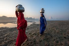 MYI_6233 (yaman ibrahim) Tags: india agra nikon d3 tajmahal yamuna morning water saree mis misty
