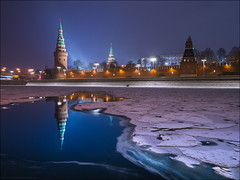 Russia. Moscow. Vodovzvodnaya Kremlin tower. (Yuri Degtyarev) Tags: russia moscow vodovzvodnaya kremlin tower city night water river reflections ice snow winter россия москва водовзводная башня кремль ночь город столица отражение вода река лед снег зима panasonic dmcg3 g3 lumix 7144 hf007014 714