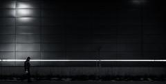 Line Light Life (marcin baran) Tags: line light man human element walk walking night dark darkness evening scale building wall empty one alone lonely bw black blackandwhite white mono monochrome street streetphotography streetphoto gliwice poland polska marcinbaran fuji fujifilm x100 x100t fujix100
