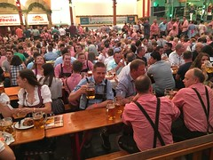 In the biggest beer tent in Stuttgart, The Stuttgart Hofbrau!