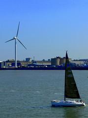 (Pickman's Paintbrush) Tags: summer water windmill liverpool coast isleofman mersey 2014