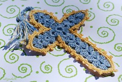 "Crocheted Cross for MacroMonday Theme ""Handmade""--Explored  7-18-14 (elizgely) Tags: blue b cross handmade antique bible crocheted macromonday picmonkey:app=editor"