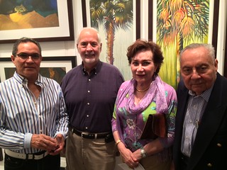 Artists Ricardo Gonzalez and Otalio Soca with Flor and Aaron Tucker at the Americas collection opening