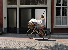 Nederland beweegt (FaceMePLS) Tags: girl bike bicycle leiden nederland thenetherlands streetphotography aldo youngwoman meisje fiets tweewieler straatfotografie damesfiets facemepls fietsmand nikond700 jongevrouw
