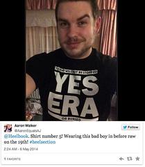 Aaron Walker on his 5th heelbook shirt