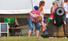 Bust & Boom - Medway River Festival - July 2014 (gareth1953 Cataract Creating Chaos) Tags: woman beautiful hair ginger kent candid young jeans mum chatham mature short blonde cannon denim cleavage chubby medway riverfestival bendingover downblouse yummymummy