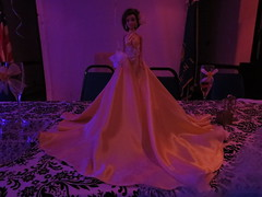 Quinceañera doll in a yellow dress at Quinceañera party (RYANISLAND) Tags: birthday family girls girl 14 15 birthdayparty spanish espanol latin latino hispanic latina 2014 quinceañera