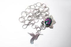Hummingbird and flower necklace (Bicho Bolita) Tags: pink flower green stone silver necklace hummingbird jewelry handcrafted gem pendant rubi fuschite
