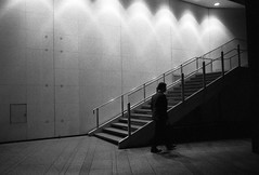 Stairs SalaryShadowMan (The 10 Thousand Things) Tags: bw night stairs walking iso3200 shinjuku fuji delta fujifilm delta3200 ilford fujinon klasse shadowman 28mm28 klassew fujinon28mm28