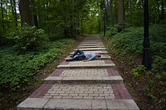 lay down and take a rest (killdream3) Tags: road boy people tree guy green stairs forest russia moscow sony perspective down rest  laydown
