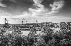 The Ballpark (Jaime Dillen-Seibel) Tags: bw clouds canon pittsburgh skies baseball pennsylvania stadiums pirates pa f28 pncpark pittsburghpirates burgh 60d sigma1750 h11a312ef
