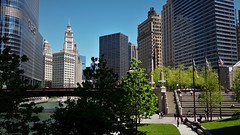 Park Along the River (michael.veltman) Tags: park trees chicago building green tower grass river illinois wrigley trump