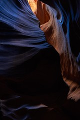 Blue neonlight in Upper Antelope Canyon (Sinar84 - www.captures.ch) Tags: blue red arizona orange usa white black colors yellow tour gray august canyon upper page antelope antelopecanyon upperantelopecanyon neonligth 2014summer