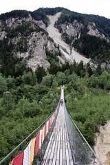 Crossing the Illgraben - Bhutan Bridge (onno de wit) Tags: schweiz switzerland suisse svizzera wallis valais leuk zwitserland susten pfynwald illgraben leukstadt zwitserlandswitzerlandsuisseschweizsvizzera bhutanbrcke bhutanbridge pfynforest bhutanhngebrcke