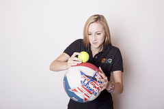 "Zoë demonstrating how energy is transferred using a basketball and tennis ball • <a style=""font-size:0.8em;"" href=""http://www.flickr.com/photos/66389448@N03/14951122859/"" target=""_blank"">View on Flickr</a>"