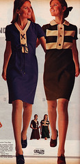 Sears 70 fw blue brown dresses (jsbuttons) Tags: clothing buttons sears womens 70s catalog 1970 seventies vintagefashion buttonfrontdress