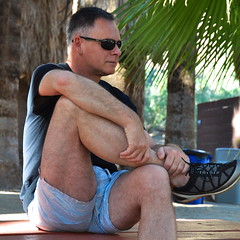Masculine Pose in Bulging Tight Shorts (Blue Rave) Tags: meninshorts guysinshorts people dude guy mate male bloke nature hills trees indiancanyons palmsprings park california palmtrees hike hiking shorts legs thighs bench bulge rayban sunglasses sexy handsome 2014 side sideportrait bulging sitting shoes runningshoes gay