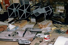 Working on the landspeeder, TIE fighter and Vader's TIE fighter (Tom Simpson) Tags: vintage starwars model darthvader behindthescenes landspeeder tiefighter darthvaderstiefighter