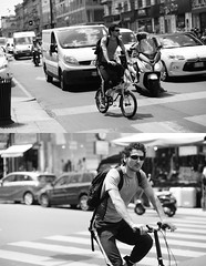 [La Mia Città][Pedala] (Urca) Tags: portrait blackandwhite bw italia milano bn ciclista biancoenero mirò bicicletta 2014 6541 pedalare dittico nikondigitale ritrattostradale
