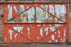 gates (steve marland) Tags: red abstract brick art abandoned geometric paint geometry decay urbandecay distressed corrugatediron merseyside balticquarter