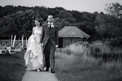Calmly We Walk Through This Day (@sage_solar) Tags: trees wedding blackandwhite woman man black love grass happy groom bride holding hands couple day dress path walk marriage overcast romance suit stroll