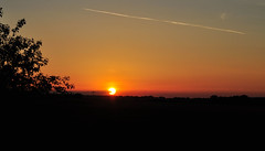 A Yorkshire Sunset (littlestschnauzer) Tags: uk light sunset summer sky sun west nature weather silhouette skyline rural countryside warm skies glow village view yorkshire horizon july glowing setting huddersfield 2014 emley my