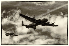 """Canadian Lancaster """"Vera"""" with a Hurricane escort over Detling. A study in monochrome (Explored 28/08/2014). (Smudge 9000) Tags: heritage museum tour military canadian aeroplane lancaster odyssey bomber vera raf avro detling"""