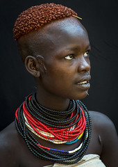 Portrait Of A Karo Tribe Girl With Coffee Bean Hairstyle, Korcho Village, Omo Valley Ethiopia (Eric Lafforgue) Tags: africa haircut girl face female kara hair day african feminine blackpeople bead omovalley ethiopia ethnic hairstyle karo anthropology cultural hamar oneperson jewel developingcountry lookingaway hamer ethnicity onepeople hammar hornofafrica ethiopian eastafrica blackskin beadednecklace onewom