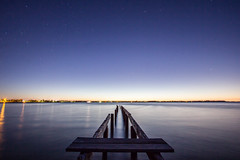 Stars on the old jetty after sunset (f.rohart) Tags: ocean longexposure sunset night canon stars jetty cleveland australia wideangle oldjetty australie canon1022mm 550d