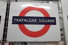 Trafalgar Square Station Sign (JoeyLad1993) Tags: road london museum strand square heathrow north transport central trafalgar aldwych depot londonunderground essex acton weald ongar