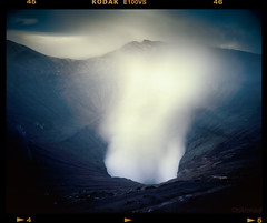 Dimensional Portal (tsiklonaut) Tags: travel blue sky mountain cold 120 film analog dark indonesia wonder volcano java fuji pentax kodak drum scanner earth deep vivid surreal ground blow scan smoking chrome