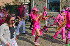 The Ambling Band amble through Bristol (Dafydd Penguin) Tags: street city uk pink england people urban music port bristol 50mm harbor photo dock nikon shots harbour britain f14 centre band floating jazz af nikkor ambling musican amble the d600