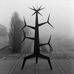 Lisboa, when youre strange (Antnio Alfarroba) Tags: urban sculpture mist film fog lisboa lisbon escultura hasselblad urbana lissabon lisbonne parquedasnaes expo98 nevoeiro ilfordfp4 501cm