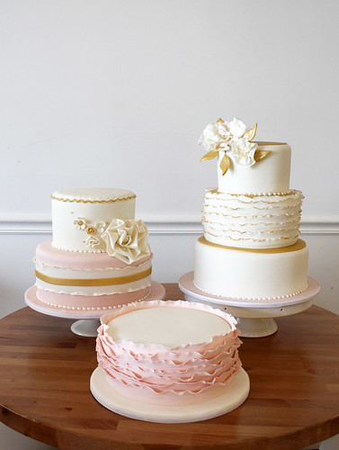 Gold And Blush Pink Wedding Cakes Trio