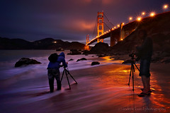 Seascape Hunters (Andrew Louie Photography) Tags: california bridge blue portrait seascape beach colors canon reflections fun photography golden twilight nikon gate san francisco waves dusk jazz andrew marshall hour passion louie hunters