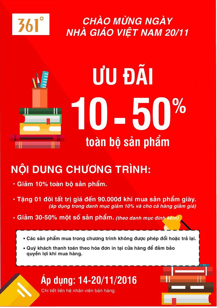 361 ưu đãi 10 - 50% mừng Ngày Nhà giáo Việt Nam