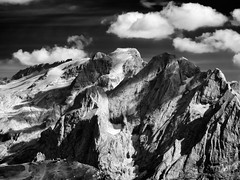 Marmolada (methariorn78) Tags: landscape paesaggio montagna mountain marmolada dolomiti dolomites passosella sky cielo clouds nuvole dark contrast contrasto shadow ombra blackandwhite biancoenero bianco nero black white trentino italy italia italian nature natural majestic light luce