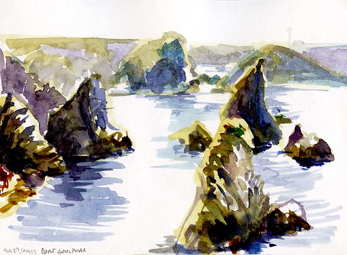 Port Goulphar, rochers à contrejour