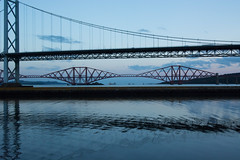 Forth Road & Rail Bridges #2 (Claire Stones) Tags: forthroadbridge forthrailwaybridge october nikon cloud forthrailbridge clouds bluesky firthofforth red scotland forth