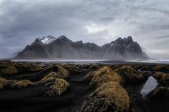 Stokksnes (Luca Libralato) Tags: beach blacksand canon1635 canoneos6d iceland libralato lucalibralato mountain ndfilter sand sea stokksnes sunrise vestrahorn water longexposure wow
