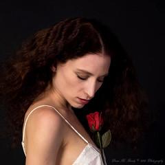 """Love Blooms"" (Dana Brady) Tags: redhead rose negligee silk white beauty newyork model"