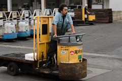 Turret truck (cinusek) Tags: turret truck man people yellow tsukiji fish market tokyo japan panning industry