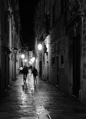 Dubrovnik After Dark (Carolbreeze99) Tags: dubrovnik street lane people darkness night lights lantern reflection limestone pavement old city life scape architecture