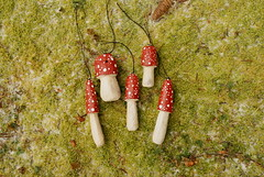 Woodland Winter Wonderland (obsequies) Tags: amanita mushroom mushrooms ornaments christmas holiday tree woodland winter wonderland moss forest fairy mori kei natural rustic reclaimed wood recycled branch branches found red white bokeh whimsy whimsical snow cute sweet cottage shabby chic decorations decor home diy handmade hand carved carving canada
