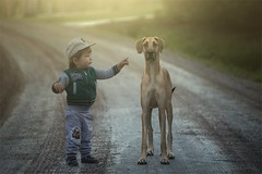 Best friends (Basri Ahmedov) Tags: dog koira suomi finland canon boy baby sunsset
