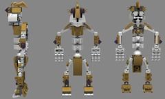 Duld, The Skeleton 2 (Folisk) Tags: lego moc mixel system ldd digital designer pov gold spooky war side view