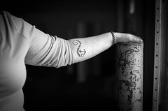 Refuse to Sink (anyusernamewouldbenice) Tags: blackandwhite bw monochrome tattoo anchor refuse strength femininity female woman relationships hand post gritty portrait portraiture documentary documentaryportraiture portland pdx pnw pacnw westcoast support domesticabuse