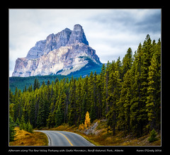 Afternoon along The Bow Valley Parkway with Castle Mountain, Banff National Park, Alberta (kgogrady) Tags: banffnationalpark castlemountain landscape thebowvalleyparkway banff alberta canada fall canadianlandscapes fallcolours canadianrockies autumn cans2s canadianrockieslanscape albertalandscapes 2016 canadianmountains canadiannationalparks ab fallcolors fujifilmxe1 fujinon fujifilm clouds parkscanada westerncanada rockymountains mountain xf55200mmf3548ois nopeople trees rocky noone xe1 rockies photosofbanffnationalpark picturesofbanffnationalpark